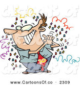 Vector Cartoon Illustration of a Man Celebrating, Surrounded by Confetti at a Party by Toonaday