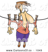 Vector Cartoon Illustration of a Man Hanging on a Clothes Line to Dry on White by Toonaday