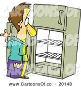 Vector Cartoon Illustration of a Man Staring at an Empty Fridge by Toonaday