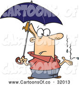 Vector Cartoon Illustration of a Man Under an Umbrella, Catching Raindrops in His Hand by Toonaday