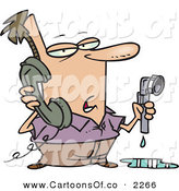 Vector Cartoon Illustration of a Man with a Leaky Pipe, Calling a Plumber on a White Background by Toonaday