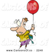 Vector Cartoon Illustration of a Nervous and Afraid Business Man Getting Carried Away by a Red Balloon by Toonaday