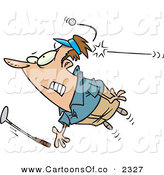 Vector Cartoon Illustration of a Nervous Male Golfer Being Hit in the Back of the Head by a Golf Ball by Toonaday