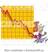 Vector Cartoon Illustration of a Nervous Scared Woman Running from a Bar on a Declining Graph by Toonaday