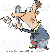 Vector Cartoon Illustration of a Paranoid White Businessman Using a Magnifying Glass to Read Fine Print on a Document by Toonaday