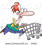 Vector Cartoon Illustration of a Red Haired Caucasian Man Pushing a Shopping Cart Through the Local Store by Toonaday