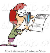 Vector Cartoon Illustration of a Red Haired White Woman Using a Magnifying Glass to Read the Fine Print on a Document by Toonaday