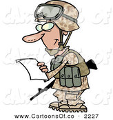 Vector Cartoon Illustration of a Smiling White Marine Soldier Man in a Camouflage Uniform and Helmet, Reading a Letter on White by Toonaday