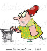 Vector Cartoon Illustration of a Stressed out White Fat Woman Pushing a Shopping Cart by Toonaday