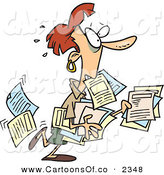 Vector Cartoon Illustration of a Stressed White Business Woman Carrying and Spilling Documents by Toonaday