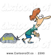 Vector Cartoon Illustration of a Struggling Caucasian Woman Pulling a Heavy Bag by Toonaday