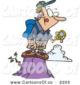 Vector Cartoon Illustration of a Successful Caucasian Hiker Man on Top of a Mountain, Using a GPS by Toonaday