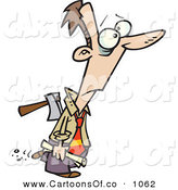 Vector Cartoon Illustration of a Surprised Man with an Axe in His Back, Betrayed by Toonaday