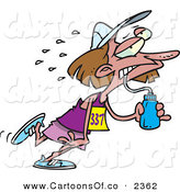Vector Cartoon Illustration of a Sweating and Exhausted Female Marathon Runner Drinking Water on White by Toonaday
