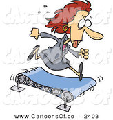 Vector Cartoon Illustration of a Sweaty Hot White Business Woman Running on a Treadmill by Toonaday