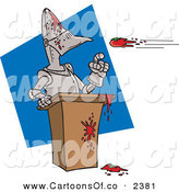 Vector Cartoon Illustration of a Throwing Tomatoes at a Suit of Armor on a Blue and White Background by Toonaday
