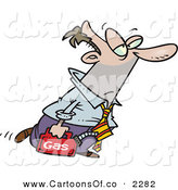 Vector Cartoon Illustration of a Tired and Exhausted Business Man Walking with a Can of Gasoline Because His Car Ran out of Gas by Toonaday