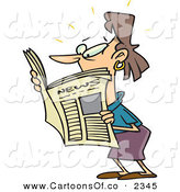 Vector Cartoon Illustration of a White Brunette Woman Reading a Newspaper Looking to the Left by Toonaday