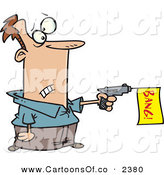 Vector Cartoon Illustration of a White Man Shooting a Dud Gun with a Yellow Bang Flag on White by Toonaday