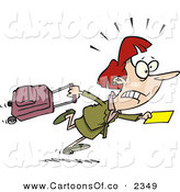 Vector Cartoon Illustration of a Worried Caucasian Woman in a Hurry to Catch Her Flight by Toonaday
