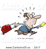 Vector Cartoon Illustration of a Worried Late Traveler Man Running and Pulling His Luggage at the Airport by Toonaday