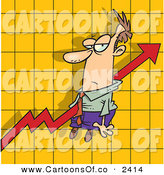 Vector Cartoon Illustration of an Increasing Arrow on a Graph Chart, Going Right Through a White Man by Toonaday