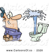 Vector Cartoon Illustration of an Outgoing and Happy Male Plumber Viewing a Geyser in a Toilet by Toonaday