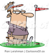 Vector Cartoon Illustration of an Unimpressed Caucasian Male Golfer Standing by a Golf Ball on Top of a Red Flag by Toonaday