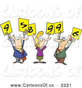 Vector Cartoon Illustration of Men and Woman Judges Holding up Number Signs over White by Toonaday