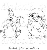 Vector Cartoon Illustration of Outlined Easter Bunnies Egg and Shell by Pushkin