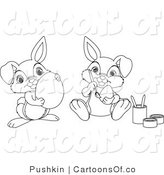 Vector Cartoon Illustration of Outlined Easter Bunnies Painting Easter Eggs by Pushkin