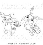 Vector Cartoon Illustration of Outlined Easter Rabbits with Baskets by Pushkin