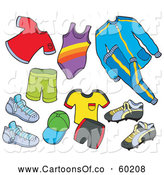 Vector Cartoon Illustration of Sports Clothes by Visekart