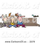 Vector Cartoon Illustration of Three Caucasian Men at Different Ages, Sitting on a Bench by a Pigeon by Toonaday
