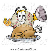 Vector Illustration of a Baseball Character Serving a Thanksgiving Turkey by Toons4Biz