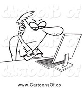 March 30th, 2014: Vector Illustration of a Black and White Grumpy Man Sitting at His Computer Desk by Toonaday