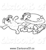 April 2nd, 2014: Vector Illustration of a Black and White Toddler Boy Running with a Bottle and Teddy Bear by Toonaday