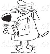 Vector Illustration of a Black and White Watch Dog Detective Taking Notes by Toonaday
