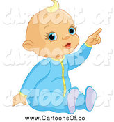 Vector Illustration of a Blond White Baby Boy Pointing by Pushkin