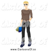 Vector Illustration of a Blond White Man Wearing Sunglasses and Carrying Shopping Bags by BNP Design Studio