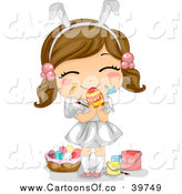 Vector Illustration of a Brunette White Easter Girl with Paint on Her Face, Holding an Egg by BNP Design Studio