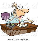 Vector Illustration of a Cartoon Caucasian Businessman Calling Customer Service by Toonaday
