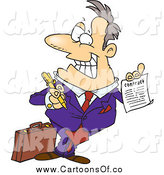 March 8th, 2014: Vector Illustration of a Cartoon Caucasian Salesman Holding a Contract by Toonaday