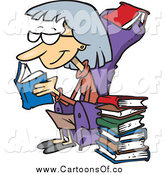Vector Illustration of a Cartoon Caucasian Senior Woman Reading Books by Toonaday