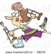 Vector Illustration of a Cartoon Determined Caucasian Woman Running with Crutches by Toonaday