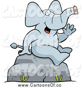 Vector Illustration of a Cartoon Friendly Sitting Elephant Waving by Cory Thoman