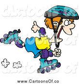 Vector Illustration of a Cartoon Happy Roller Blading Boy by Toonaday