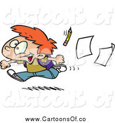 Vector Illustration of a Cartoon Red Haired Boy Running Home on the Last Day of School by Toonaday