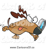 Vector Illustration of a Cartoon Searching Dog Using a Magnifying Glass by Toonaday
