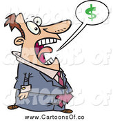 Vector Illustration of a Cartoon White Businessman Shouting About Money by Toonaday